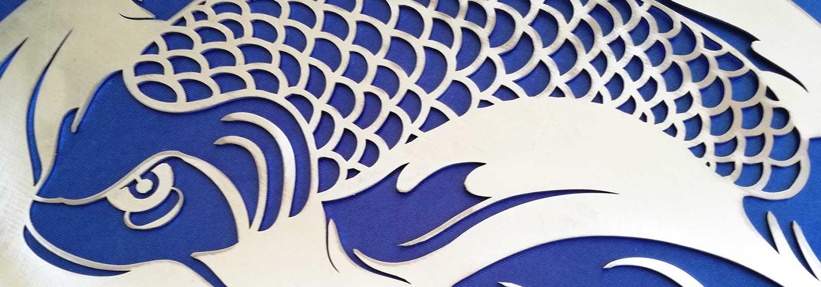 Yin yang with koi carps for Decoration murale yin yang